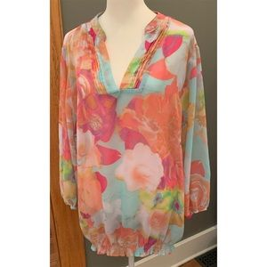 a.n.a. Multi-colored sheer long-sleeve top